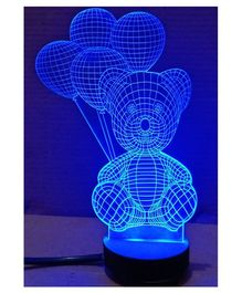 Bluday Colour Changing 3D LED Lamp Teddy Shape - Blue