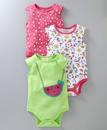 Babyoye Short Sleeves Cotton Onesies Pack of 3 - Pink White Green