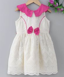 Enfance Core Sleeveless Schiffli Embroidery Dress - Pink