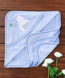 Child World Hooded Towel Bear Embroidery - Blue