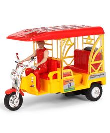 Centy E- Rickshaw Pull Back Toy Model - Red & Yellow