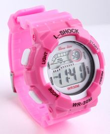 Digital Solid Colour Wrist Watch - Dark Pink