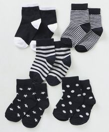 Cute Walk by Babyhug Anti Bacterial Ankle Length Non Terry Socks Multi Pattern Pack of 5 - Black