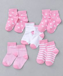 Cute Walk by Babyhug Anti Bacterial Ankle Length Mon Terry Sock Heart Design Pack of 5 - Pink & White