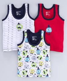 Bodycare 100% Cotton Sleeveless Vests Hello Print Pack of 3 - Red White