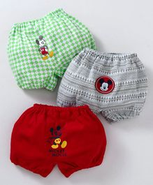 Bodycare Boxer Briefs Checks & Mickey Mouse Print Pack of 3 - Red Green