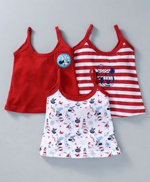 Bodycare Singlet Slips Minnie Print Pack of 3 - Red White