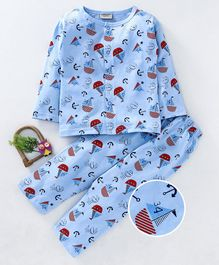 10f68eb4a8b Wonderchild Full Sleeves Boat   Anchor Printed Night Suit - Light Blue