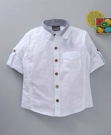 Rikidoos Solid Full Sleeves Shirt - White