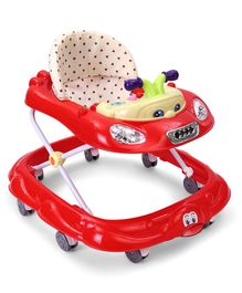 Musical Baby Walker With Height Adjustment - Red