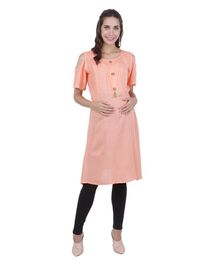 MomToBe Half Sleeves Solid Cold Shoulder Maternity Kurti - Light Peach