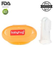 Babyhug Silicone Finger Brush With Case - Orange