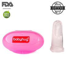Babyhug Silicone Finger Brush With Case-Pink