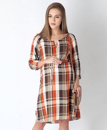 Blush 9 Checked Three Fourth Sleeves Maternity & Nursing Dress - Orange & Brown