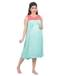 Uzazi Solid Sleeveless Maternity Dress - Sea Green