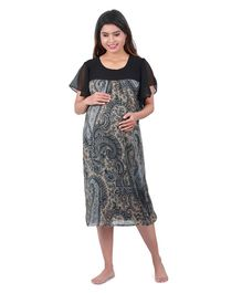 Uzazi Half Sleeves Printed Maternity Evening Dress - Grey