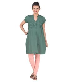 Uzazi Solid Short Sleeves Kurta - Green