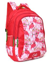 Steffi Love School Bag Crane Print Red Pink - 18 Inches