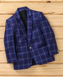 Dew's Burry Checked Full Sleeves Blazer - Blue