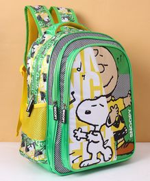 Peanuts School Bag Snoopy Print Green Yellow - Height 14 inches