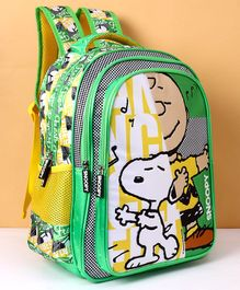 Peanuts Snoopy Print School Bag Green - Height 16 Inches