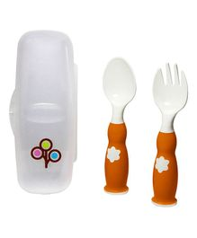 Zoli Fork & Spoon With Case - Orange White