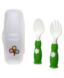Zoli Fork & Spoon With Case - Green White