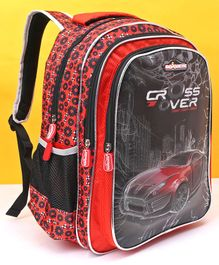 Majorette School Bag Car Print Red Black - Height 16 Inches
