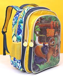 Jungle Book School Bag Mowgli And Friends Print Yellow - Height 16 inches