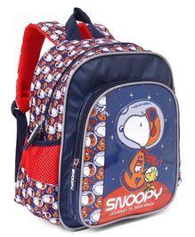 Peanuts Snoopy Deep In Spcae Print School Bag Blue - Height 12 Inches