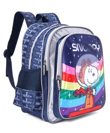 Peanuts School Bag With Padded Shoulder Straps Blue - Height 14 Inches