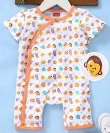 932575c43a29 Babyhug Organic Cotton Half Sleeve Romper Allover Print - Orange