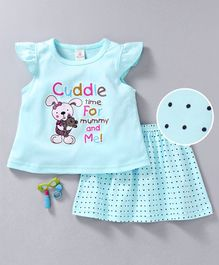 Baby Naturelle & Me Cap Sleeves Night Suit Cuddle Print - Light Blue