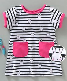 Baby Naturelle & Me Striped Half Sleeves Nighty Bunny Print - Black