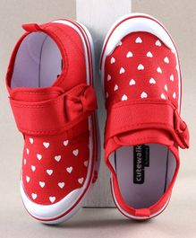 Cute Walk by Babyhug Casual Shoes Heart Print - Red
