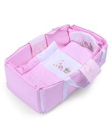 Baby Carry Cot Bunny Embroidery - Pink