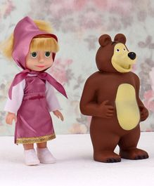 Masha And The Bear Toy Figures Pink Brown - Doll Height 15 cm
