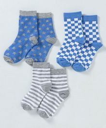 Cute Walk by Babyhug Organic & Anti Bacterial Ankle Length Socks Pack of 3 - Blue Grey