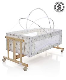 Babyhug Sleep-in Cradle With Mosquito Net & Swinging Fucntion - Light Brown