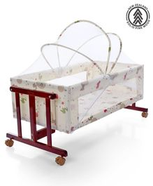 Babyhug Sleep-in Cradle With Mosquito Net & Swinging Function - Maroon