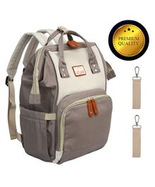 Vismiintrend Waterproof Diaper Bag Backpack With Baby Insulated Pockets - Grey & Ivory