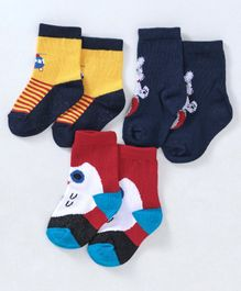 Cute Walk by Babyhug Ankle Length Anti Bacterial Non Terry Socks Multidesign 3 Pairs - Yellow Red Navy Blue