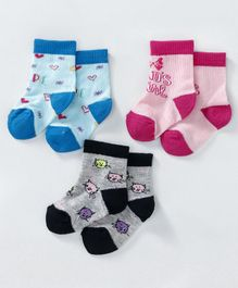Cute Walk by Babyhug Ankle Length Non Terry Anti-Bacterial Socks Multi Design Set of 3 Pairs - Blue Pink Black