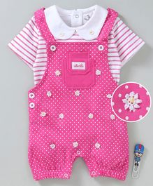 Baby GO Sleeveless Romper With Inner Tee Polka Dot Print - Pink
