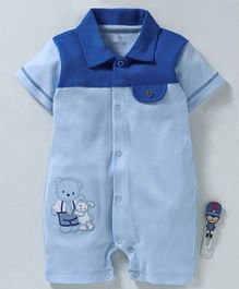 Baby GO Half Sleeves Romper Teddy Bear Patch - Blue