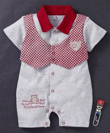 Baby Go Half Sleeves Romper With Checked Waistcoat Style - Red Grey