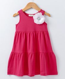 Crayonflakes Flower Applique Sleeveless Dress  - Pink