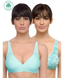 Inner Sense Set Of 2 Multi Print Organic Antimicrobial Feeding Bra - Sea Green