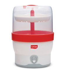 LuvLap Royal Steam Sterilizer White Red - Capacity 6 Bottles