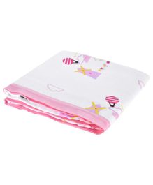 My Milestones Muslin Blanket 3 Layered Dutch Country Print  - Pink
